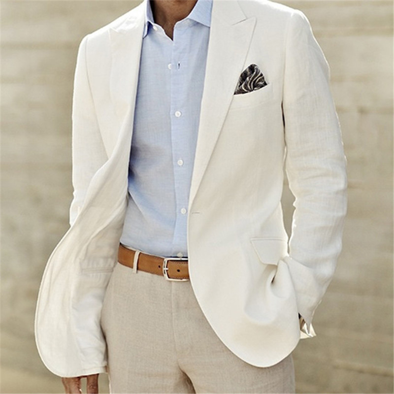 Summer Suit Tailored, Men's Thin Ivory White Suit 2 Sets (coat + Pants) Men's Latest Jacket Design Party Ball Dress Up