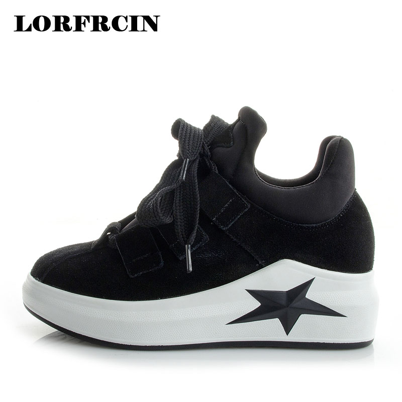 LORFRCIN Genuine Leather Casual Shoes Woman Wedges Platform Shoes Women's Sneakers For Women Thick Heel Pumps Zapatos Mujer 2018 2017 summer shoes woman platform sandals women soft leather casual open toe gladiator wedges women shoes zapatos mujer