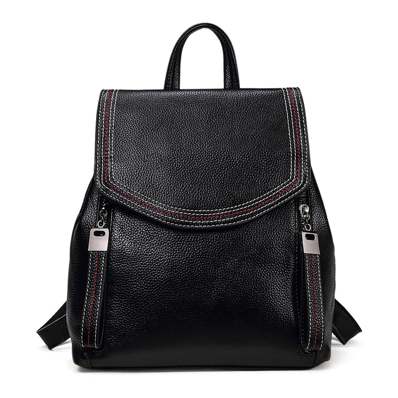 2018 Korean Fashion Women Backpack Genuine Leather Ladies Bagpack Double Zipper Design High Quality Teenager Girl