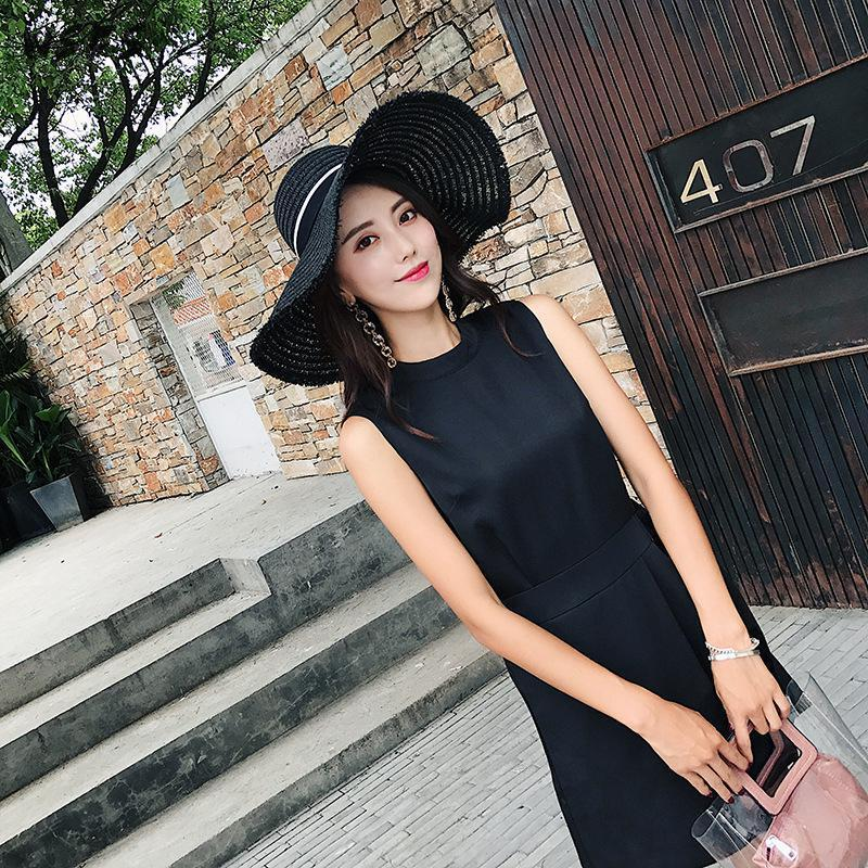 Summer Black Chiffon Sleeveless Oneck Wide Leg Asymmetrical Jumpsuit Women Elegant Sexy Party Office Lady Overalls Body Feminino
