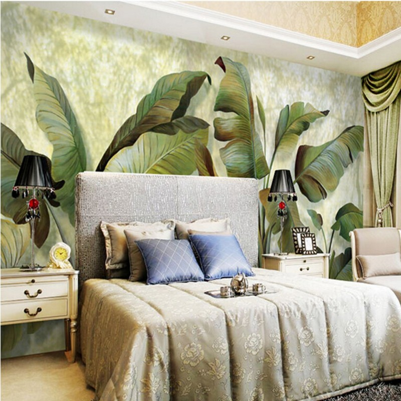 Beibehang 3d banana leaf wallpaper mural southeast asian for Chinese wallpaper mural