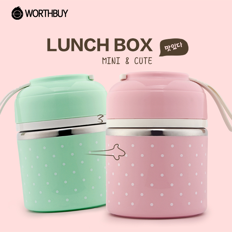 WORTHBUY Lunch Box Portable Cute Mini Japanese Bento Box Leak-Proof Stainless Steel Kids Picnic Food Thermal Storage Container