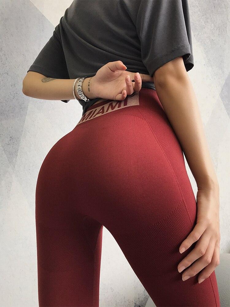 Elástico vital sem costura leggings mulheres barriga
