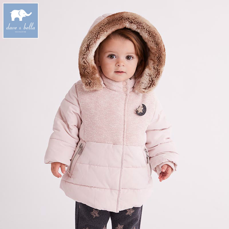 DB5611 dave bella winter infant baby girl fashion Jackets toddler girls Hooded outerwear children cute hight quality clothes
