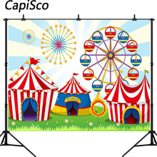 Capisco Circus Tent Birthday Party Photo Background Carnival Backdrop Decor Amusement Park Photography Backdrops for Photobooth(China)