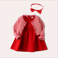 New spring Chinese Style Full moon Baby girl princess dress red Cotton knit sweater coat and dress sets girls christmas dress