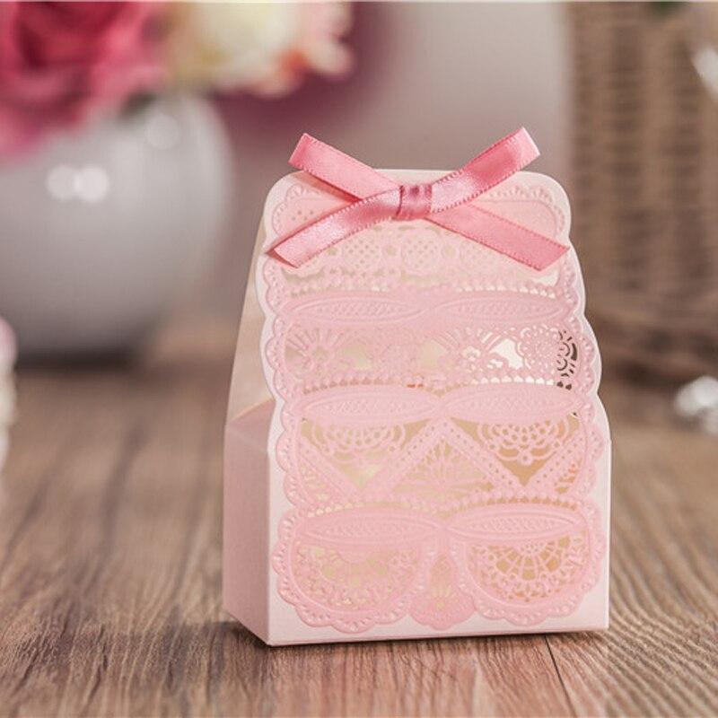 50 шт. розовый цветок Лазерная резка свадебный Коробки подарки Коробки конфет с лентой Baby Shower Свадьба со дня рождения партии поставки