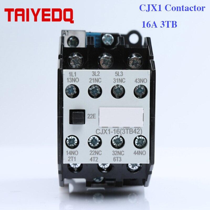 CJX1-16A AC contactor magnético CJX1-16/22 3TB42 ac contactor del motor 24V 220V 380V 2NO 2NC TOCT1 2P 25A 220 V/230 V 50/60 HZ, carril Din hogar ac contactor Modular 2NO 2NC o 1NO 1NC