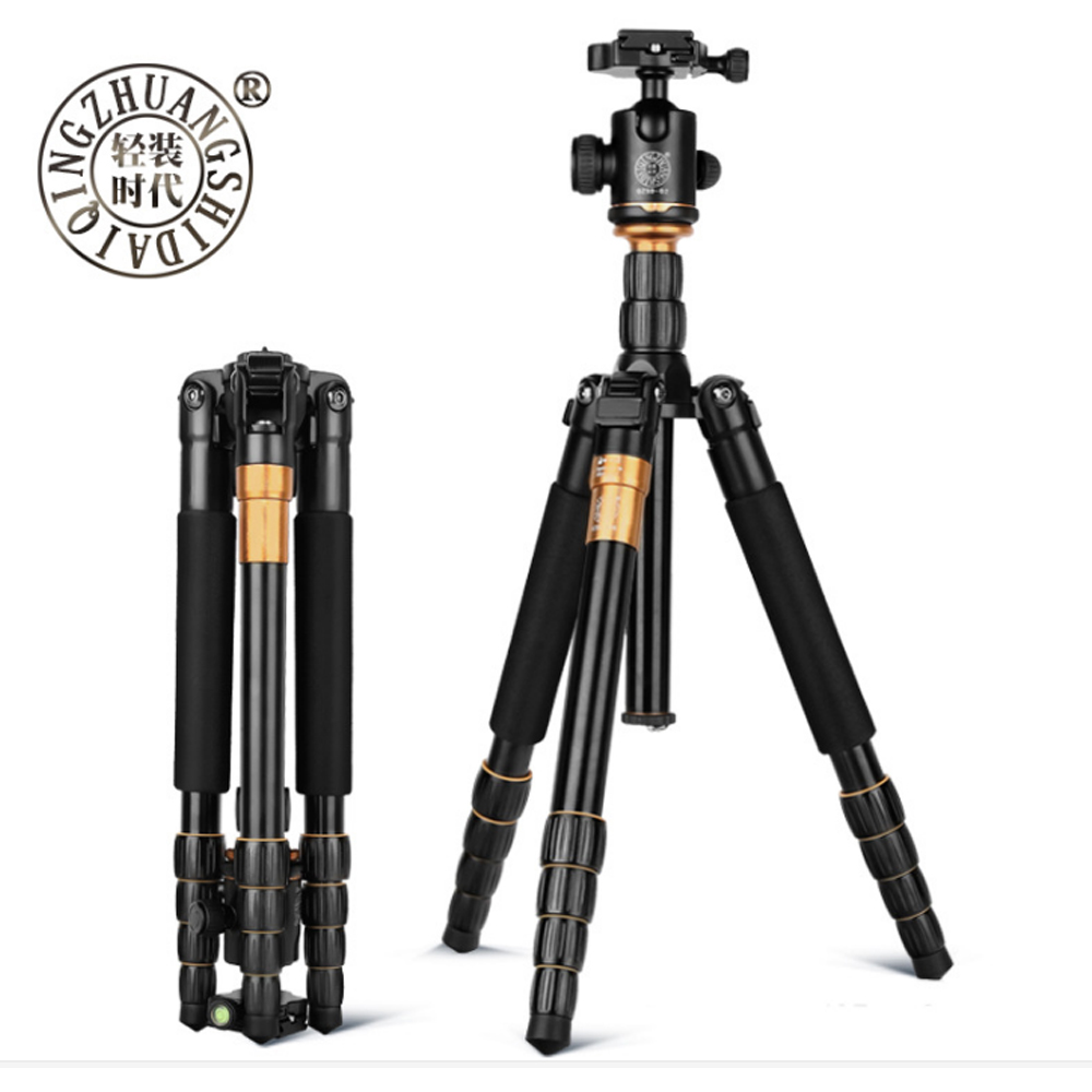 Beike QZSD Q666 Professional Magnesium Aluminium Alloy Tripod Monopod For Travel DSLR Camera Light Compact Portable