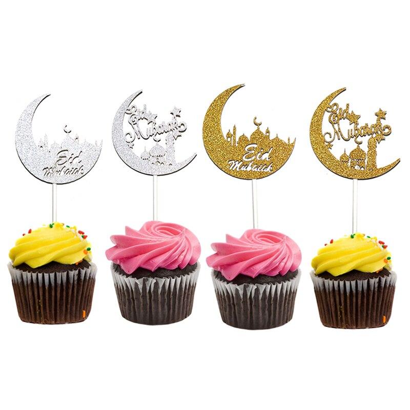 20pcs Gold Silver Eid Mubarak cupcake toppers, Crescent ...