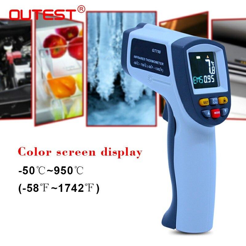 OUTEST Laser Senza Contatto Digitale Termometro A Infrarossi-50 ~ 950 Gradi di Temperatura Pirometro IR Laser Pistola del Punto di Colore Dello Schermo