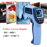 OUTEST Non Contact Digital Laser Infrared Thermometer 50~950 Degree Temperature Pyrometer IR Laser Point Gun Color Screen