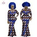 BRW Riche Bazin Africano Cera de Impresión de Dos Piezas de Falda Dashiki Ropa de Estilo africano para Las Mujeres Ruffles Crop Top y Falda WY1147