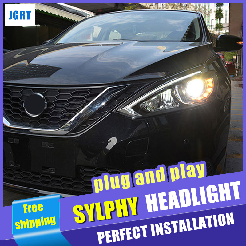 Car Styling Headlights 2015-2017 for Nissan Sylphy Sentra LED DRL Lens Double Beam H7 HID Xenon bi xenon lens hireno headlamp for 2013 2015 nissan tiida headlight assembly led drl angel lens double beam hid xenon 2pcs