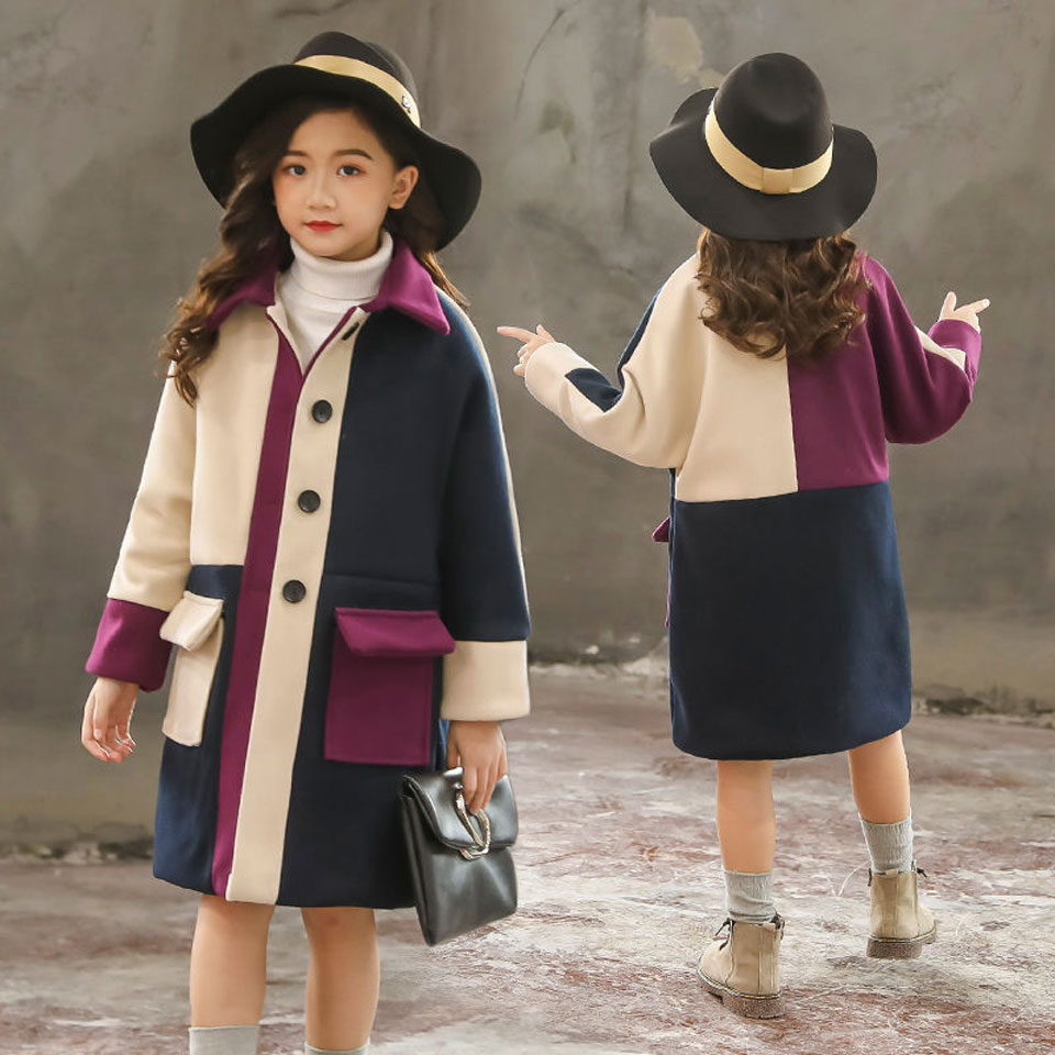 Girls Winter Jackets Long Woolen Coats For Kids Girls Casual Autumn Children's Clothes Teenage Clothing For Girls 6 8 12 Years