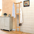 Lanskaya Modern European Crescent Double Pole Bamboo Coat Hanger Bedroom Furniture Clothing Rack Floor Stand