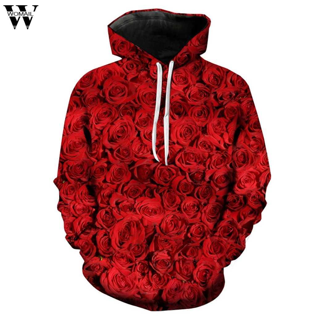 Womail модная мужская Осенняя Толстовка день 3D Роза любовь длинный рукав шляпа защита блузка Топ принт Толстовка Топ Толстовка