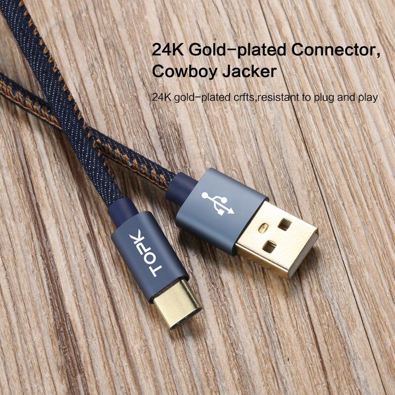 Тип-C кабель, TOPK деним провод USB C позолоченный штекер быстрой зарядки Тип usb C кабель для MacBook/Xiaomi 4C/ letv/Oneplus