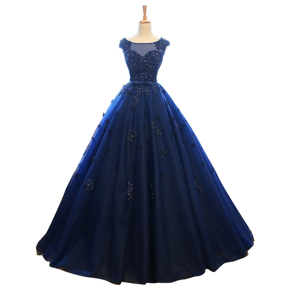 Navy blue wedding dresses promotion shop for promotional for Navy blue dresses for weddings
