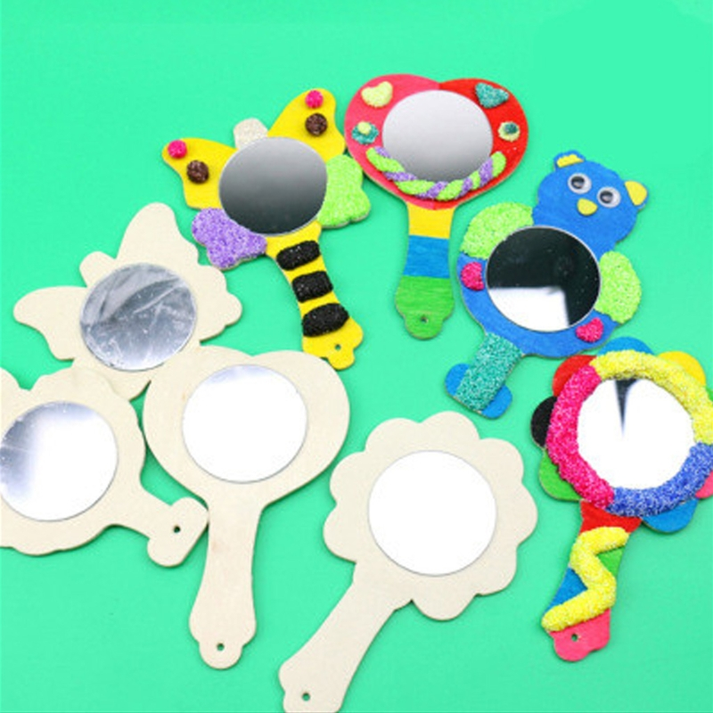 Creative DIY White Wood Mold Mirror Painting Handmade Craft Kids Toys Trinket Material Funny Craft Toys