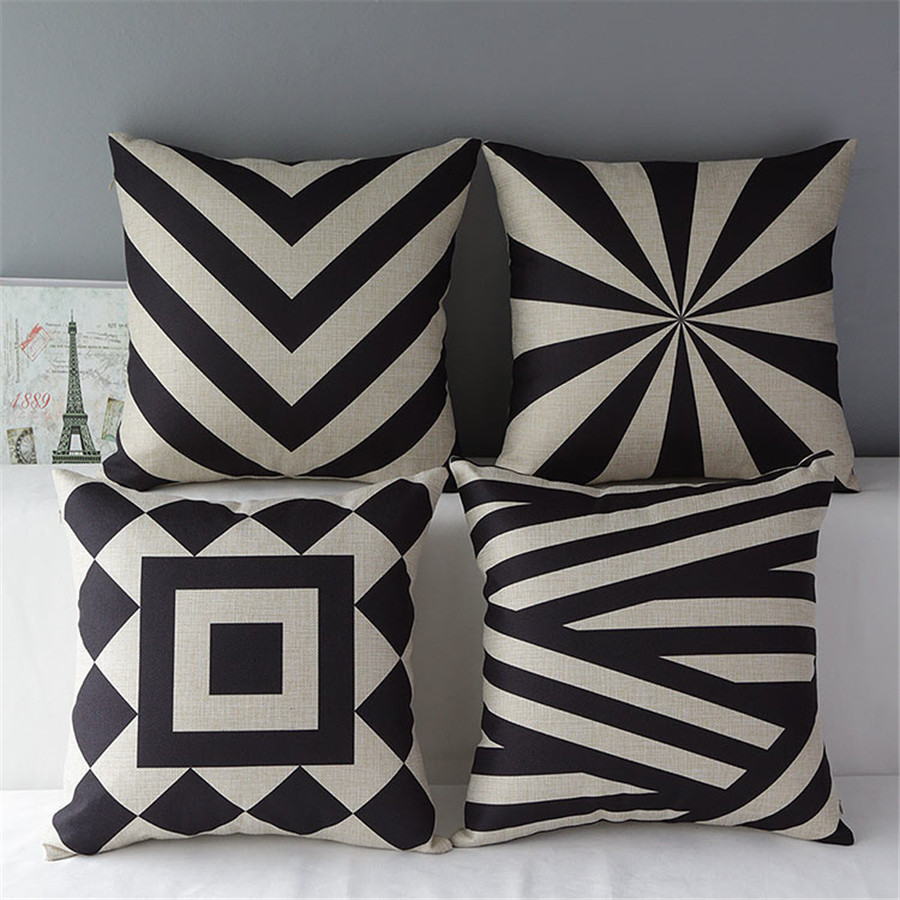 "18"" Square Geometric Modern Black and White Cotton Linen ..."