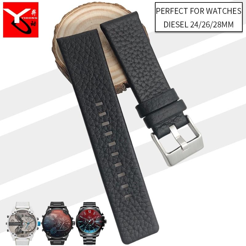 24mm 26mm 28mm Italian Cowhide Watch Strap Needle Buckle Soft Leather Watchband Suitable for Diesel Watch DZ7313 DZ7322 DZ7257