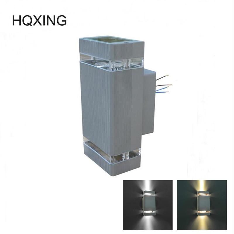 [HQXING] 8W GU10 <font><b>focos</b></font> <font><b>exterior</b></font> lighting <font><b>LED</b></font> Outdoor Wall Lamps Light Aluminum Up and Down Wall Lamps Waterproof outdoor sconces