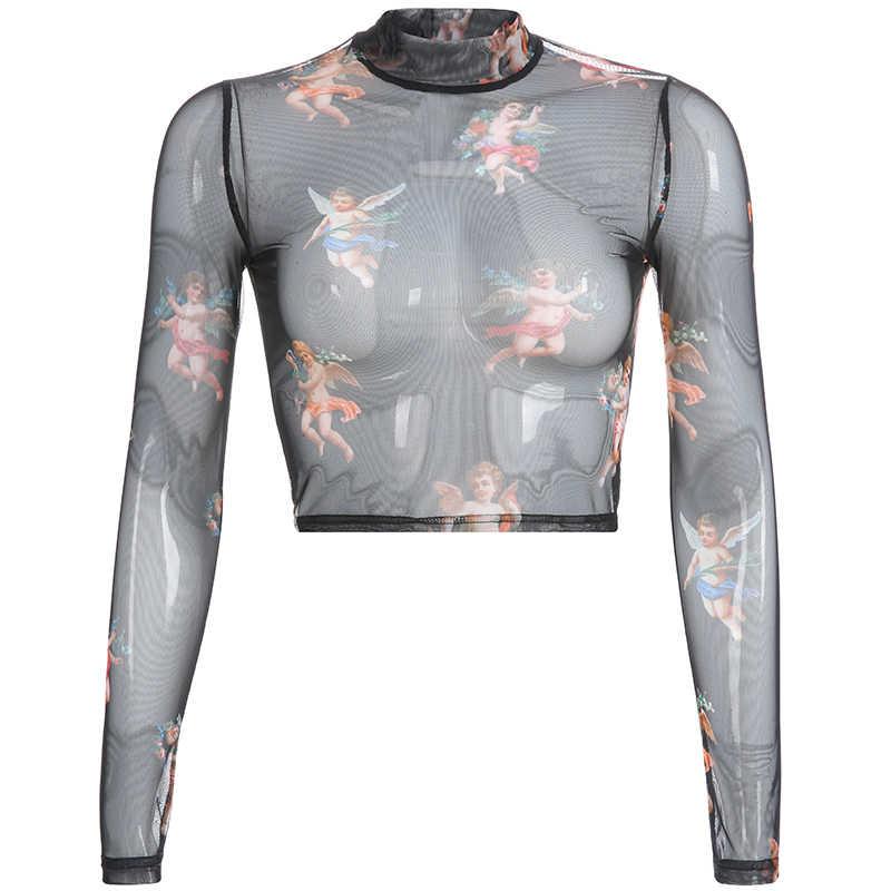 Darlingaga повседневное розовый прозрачный сетчатый топ футболка для женщин Купидон Ангел печати Harajuku сексуальные короткие топы летние футболки 2019