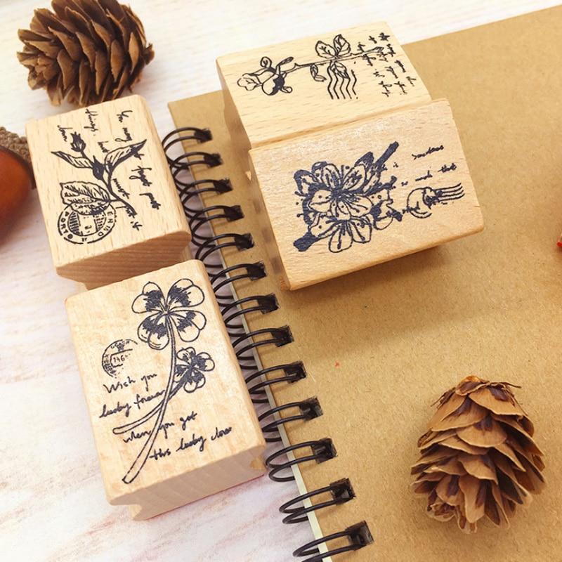 Vintage Plant Flower Wood Stamp DIY Wooden Rubber Stamps For Scrapbooking Stationery Standard Stamp