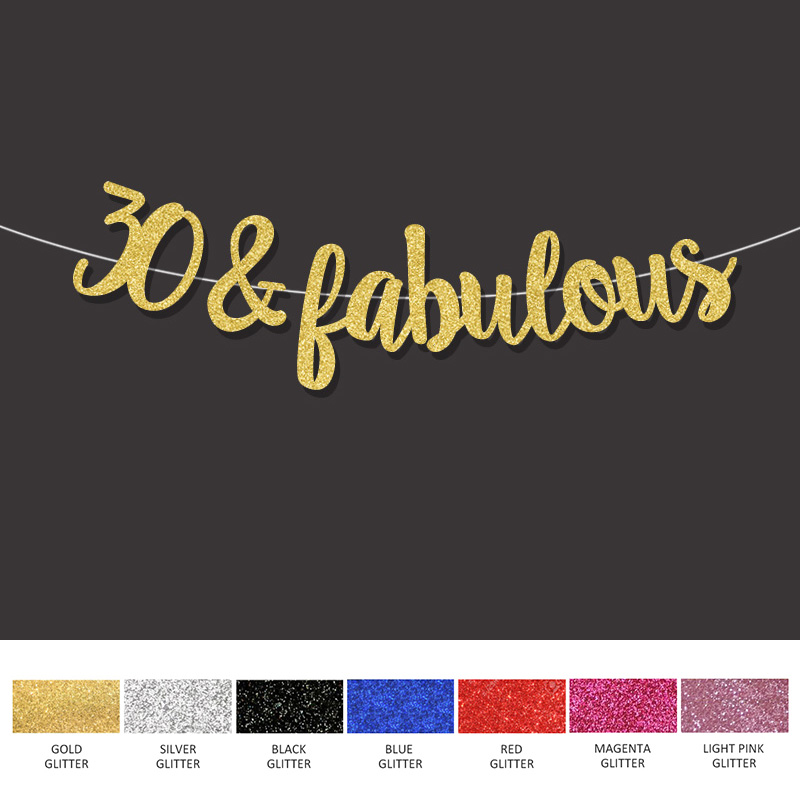 Gold/Black/Silver glitter 30&fabulous banner 30th happpy birthday sign decor Thirty anniversary party decorations suppliesGold/Black/Silver glitter 30&fabulous banner 30th happpy birthday sign decor Thirty anniversary party decorations supplies