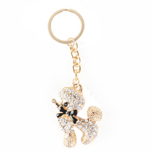 Cute Poodle Dog Pattern Rhinestone Key Chains Gifts for Dog Lovers
