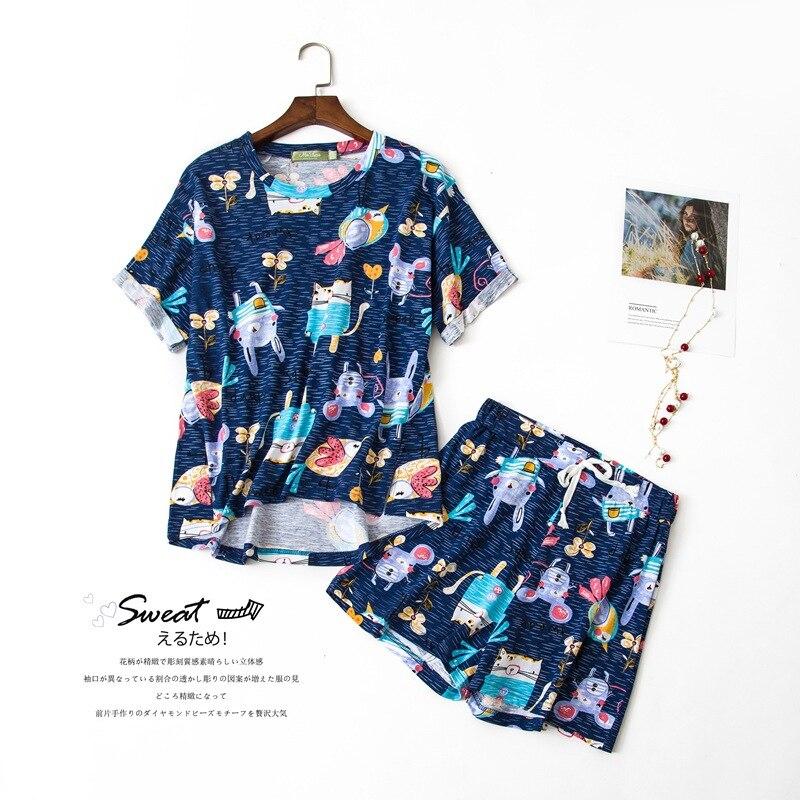 Cotton Pajamas Women Multi Styles Summer Cartoon Cat Rabbit Bird 2 Pieces Set Short Sleeve Elastic Waist Sleepwear Lounge S84694