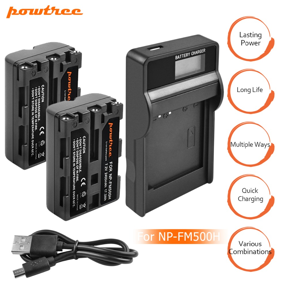 2X NP-FM500H 7.2V 2400mAh Li-ion Battery+1Port Battery chager with LED For SONY A65 A77 A99 A500 A560 A580 A850 A900 A100 L10 new view np fm500h replacement 7 4v 1650mah rechargeable li ion battery for sony dslr black