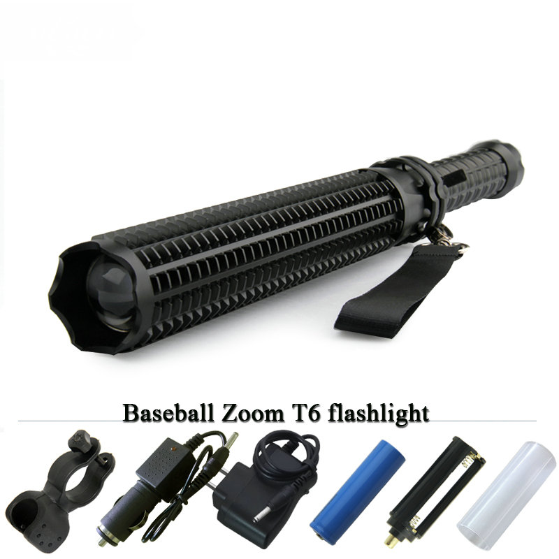 2016 New Powerful LED tactical Flashlight tactical CREE XML T6 LED Baseball Bat Self defense Torch Lamp linternas with battery z50 cree l2 flashlight torch lamp self defense led flash light powerful tactical emergency defensive torch 1battery 1charger