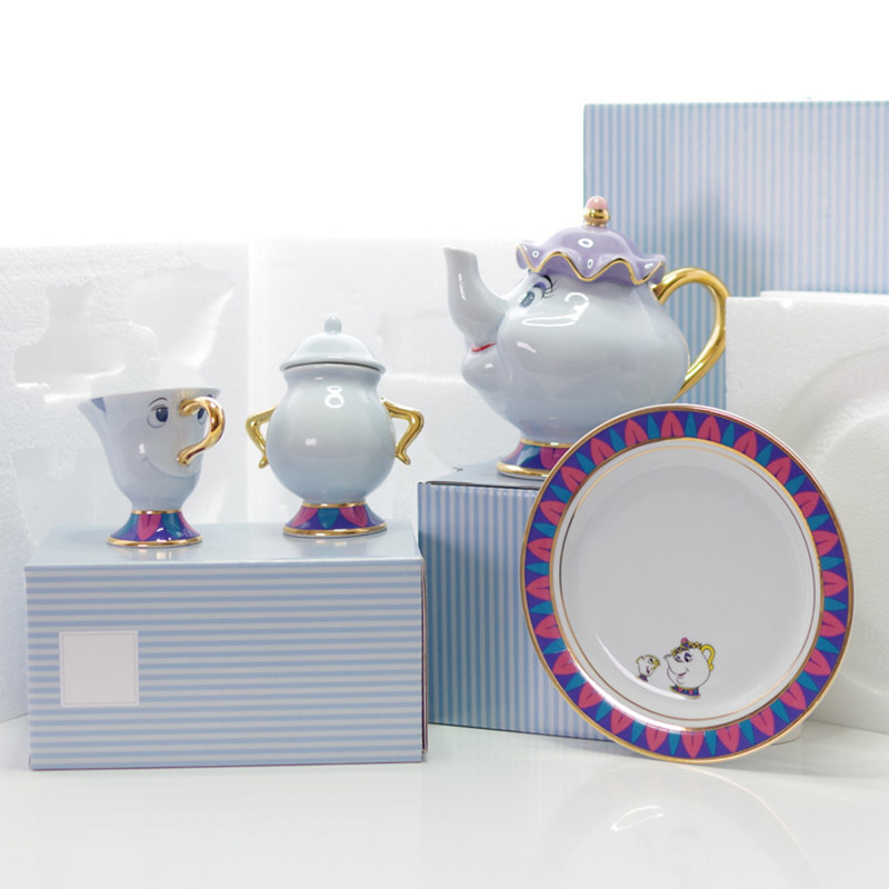 Cartoon Beauty And The Beast Tea Set Teapot Cup Mrs Potts Sugar Pot Bowl Chip Mug Plate Saucer Kettle Milk Coffee Creative Gift