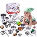 16 unids pretend play toys mini modelo de cocina de acero inoxidable utensilios de cocina utensilios de cocina cocinar toys niños pan pot brinquedo