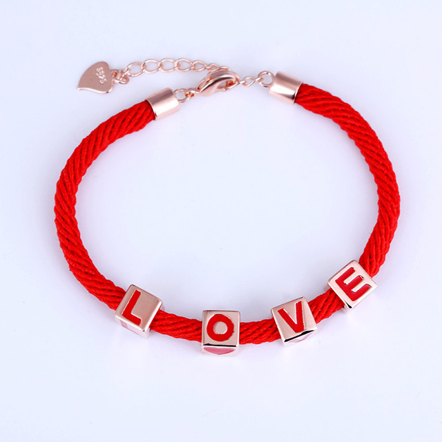 Gifts Love Transfer LOVE Red Bracelet Silver Jewelry DIY Fashion Beads and Charm Bracelet for Women