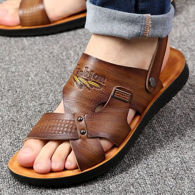 5b50ee75d102 High quality fashion summer men sandals cool comfortable solid dual-use  flip flops men casual beach sandals mens shoes