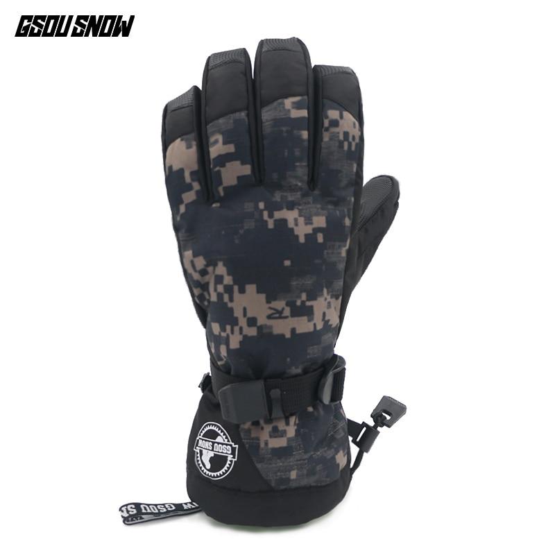 GSOU SNOW Winter Ski Gloves Mænd Colorful Warmth Camouflage Snowboard Handsker -30 Grad Outdoor Vandtæt Mand Sne Multi Farver