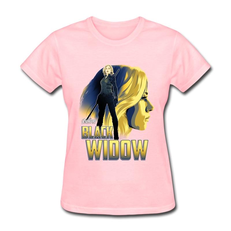 Frauen T Shirts Schwarz Witwe Profil Gedruckt Tops Shirts 100% Baumwolle Crewneck Marvel Avengers Mittel T-shirts Sommer/Herbst