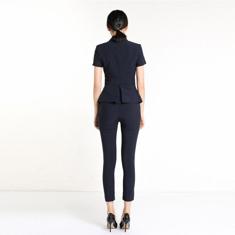Set Survêtement Pantaloni Femme Ol Di Formale Ufficio Delle Camicia Affari Due Donne A 2019 Della Marque Professionale K9913 Pezzi Blu Stile xz08ZqF