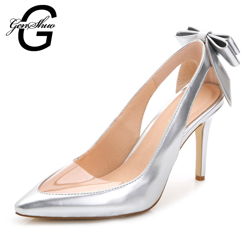 genshuo 2017 women fashion clear hollow pointed toe cut outs high heels woman shoes bowtie clear wedding shoes pumps