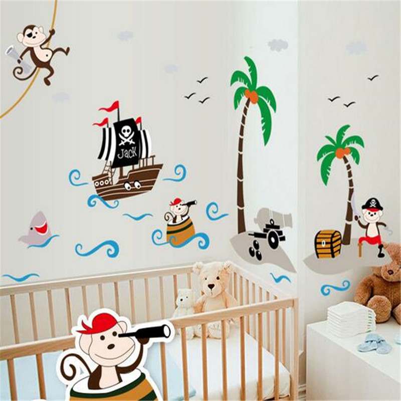 free shipping hot pirate monkey removable wall stickers childrens room decorations painting cartoon pattern household accessory - Monkey Bedroom Decor