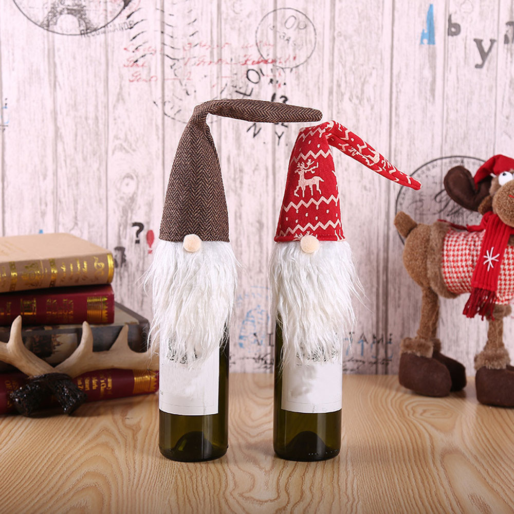 Dust Covers Fashion Style 1pcs Table Decorations Wine Bottle Cover Ornament Wedding Table Decorations Novelty Decoration Snowman Santa Clause Lovely Hug
