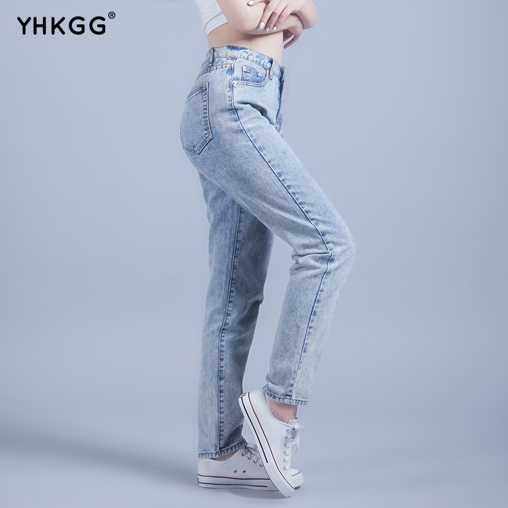 YHKGG 2018 New High Waist Womens   Jeans   Trendy Boyfriend Acid Washed Cropped Hole Fashion Low-rise Pencil   Jeans