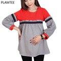 Cor Hit da moda Camisas de Maternidade Plus Size Solto Vertical Listrado Em Torno Do Pescoço Camisa Roupas Para Mulheres Grávidas Blusa Patchwork