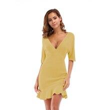 VZFF Summer New Ruffled Dress Women Dresses V-Neck Split Sexy Party Femme Self-cultivation Bandage