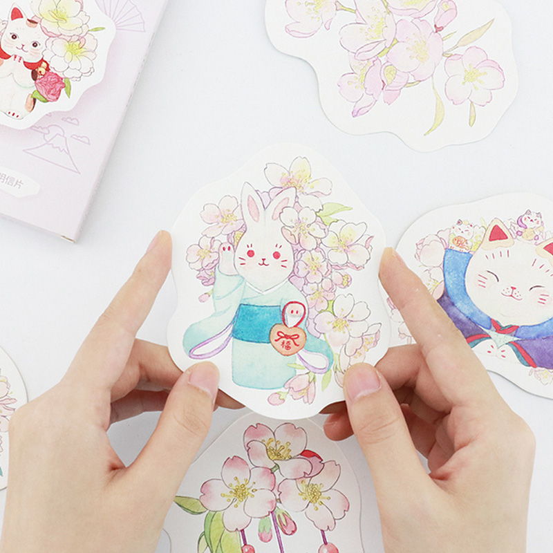 30 Pcs/pack Cute Animal Rabbit Heteromorphism Greeting Card Postcard Birthday Letter Envelope Gift Card Set Message Card