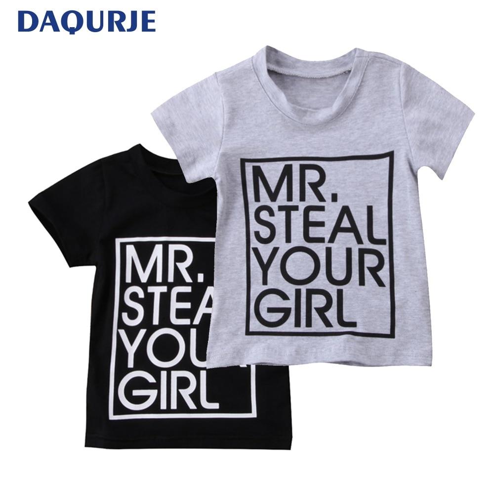 ec1e82d938636 Children's Summer Short Sleeve T shirt Baby Boys Tshirt Letter Print ...