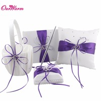 Double Heart Satin Ring Pillow+Flower Basket+Guest Book+Pen Set with Rhinestone Diamond for Wedding Party Decoration Many Color